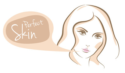Perfect skin woman face, vector
