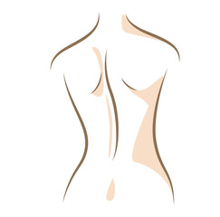Close up woman back drawn in vector lines
