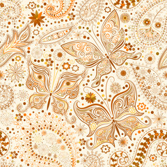 Vintage seamless floral motif background with butterflies.