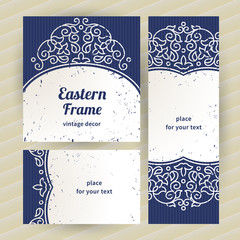 Vintage ornate cards with Eastern elements.