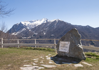 Plaque to the manufacturer and views of Mount Grigna
