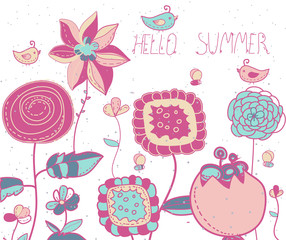 background with  flowers birds and bees lettering Hello summer