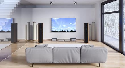 Soggiorno con impianto stereo e tv led