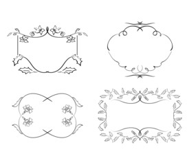 black decorative frames - vector floral set