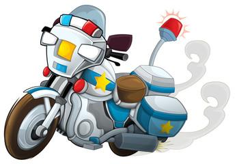 Cartoon motorcycle - police - illustration