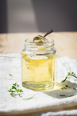 Wine Jelly Made of Sweet Sauternes Wine with Thyme and Rosemary