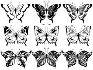 Set of nine ornamental butterflies