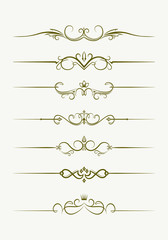 Set of seven decorative vintage style text dividers. Vector illu