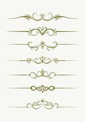 Set of seven decorative vintage style text dividers. Vector illu