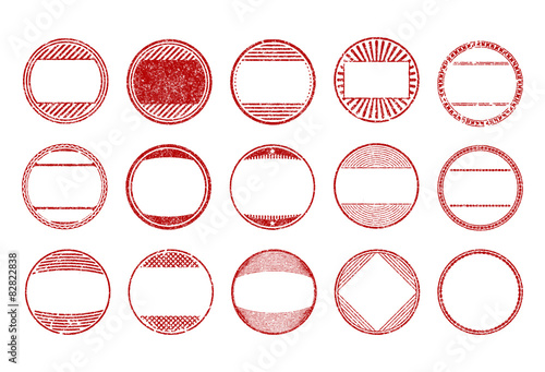 set of 15 red round grunge rubber stamps templates vector