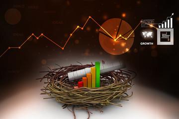 Business chart an graph on nest