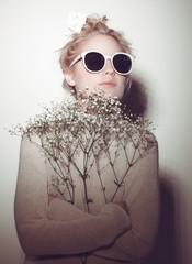 fashion woman portrait. Sunglasses Hippi hair flowers on face