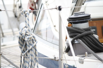 Black rope wrapped around a winch