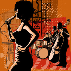 Poster Art Studio Jazz singer with saxophonist and double-bass player