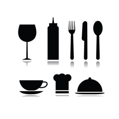Set of food and beverage symbols in white background
