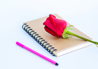 Rose on diary ,Valentine's day