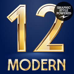 Vector set of modern golden glossy font. Numbers 1 2
