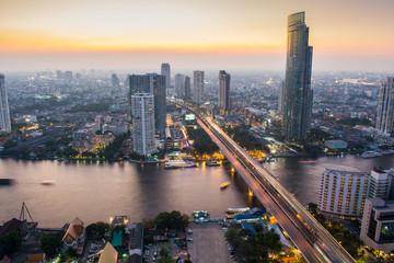Chao Praya River near Taksin bridge, Bangkok Thailand.