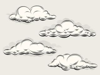 Engraving clouds