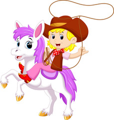 Cowgirl riding a horse with Lasso