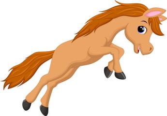 Cute horse cartoon jumping