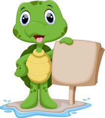 Cute turtle cartoon holding a blank sign
