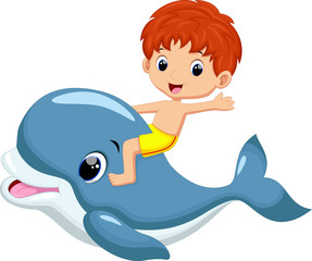 Boy riding dolphin