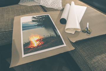 Packaging of printed wall art picture