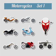Set of elements motorcycles for creating your own infographics o