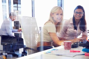 Women office coworkers, portrait