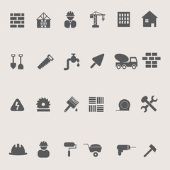 Construction icons set on pastel background, stock vector