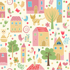 Seamless pattern with houses.