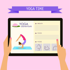 conceptual illustration on the practice of yoga theme