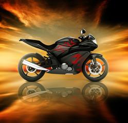 Motorcycle Motorbike Bike Rider Contemporary Black Concept