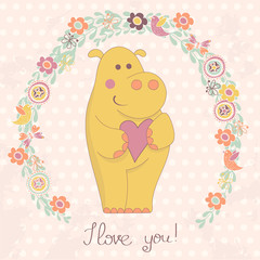 Hippo with heart and floral frame
