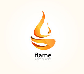 Abstract Vector design Logo,icon Flames,Fire of 3d shapes.