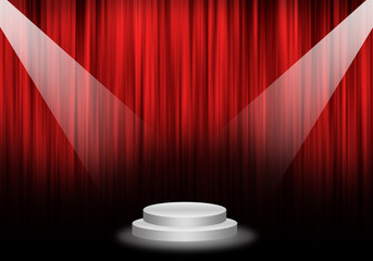 Fill object : Flare two spotlight focus Stage with red curtain a