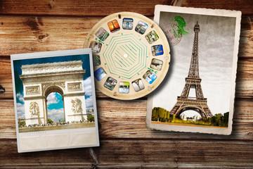 foto vintage di Parigi su fondo legno