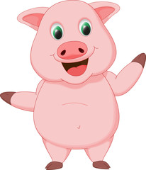 happy pig cartoon