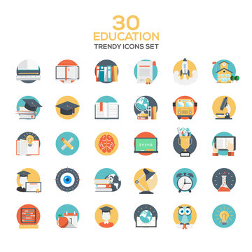 Set of modern flat design Education icons