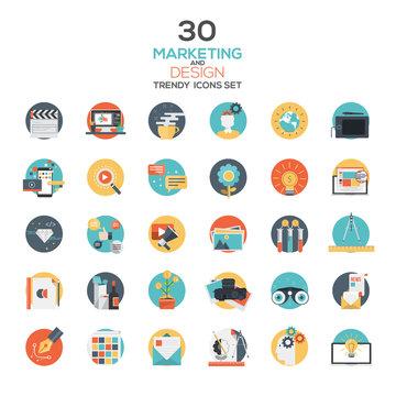 Set of modern flat design Marketing and Design icons