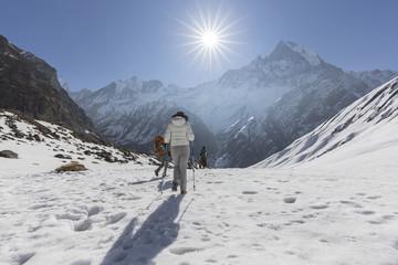 Trekkers do trekking in Annapurna Trail, west Nepal.