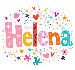 Helena girls name design decorative lettering type