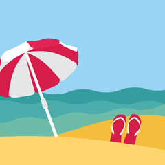 Seaside view on beautiful beach with parasol