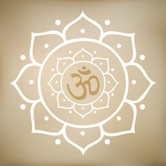 Vector Lotus Mandala with Om Symbol
