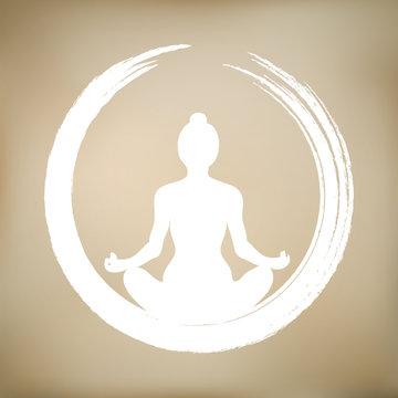 Vector Woman Doing Yoga with Zen Circle