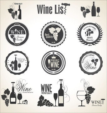 Collection of wine badges and labels
