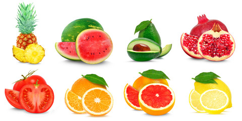collage fruit isolated on white background