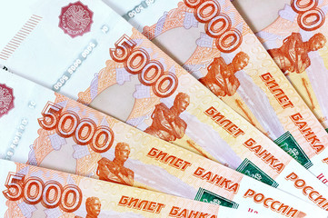 scattering five thousandth banknotes Russia