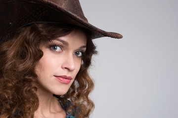 Young lady in a cowboy hat